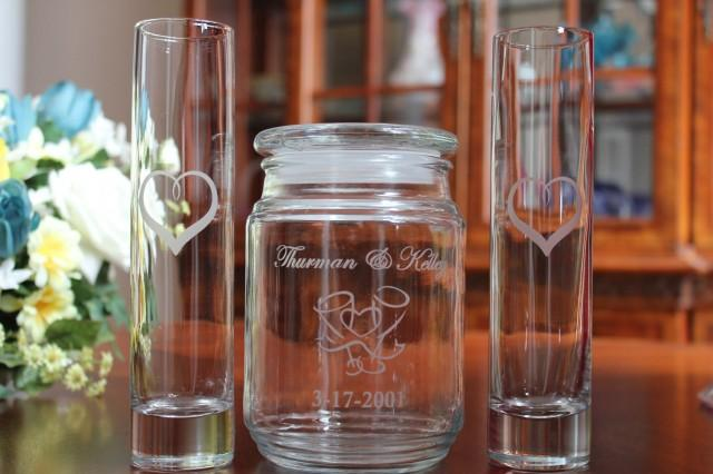 3 Piece Personalized Engraved Unity Sand Ceremony Set 2 Pouring Vases Wedding Sand Ceremony