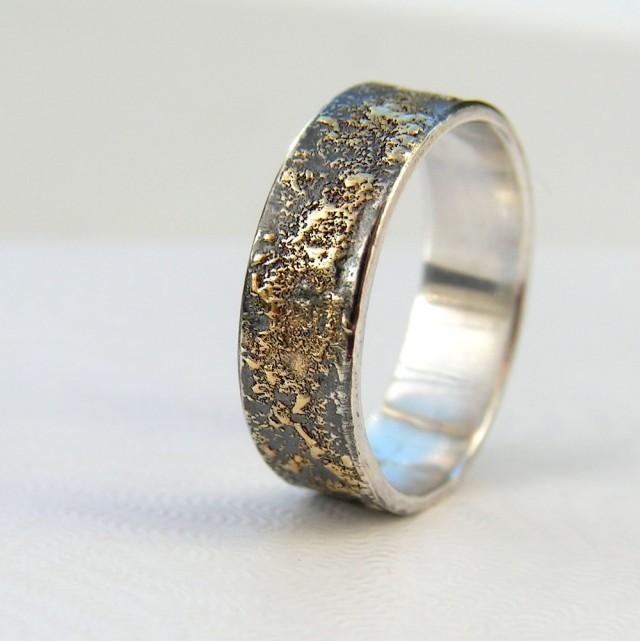 Oxidized Platinum: Rustic Men's Wedding Ring In 18kt Gold And