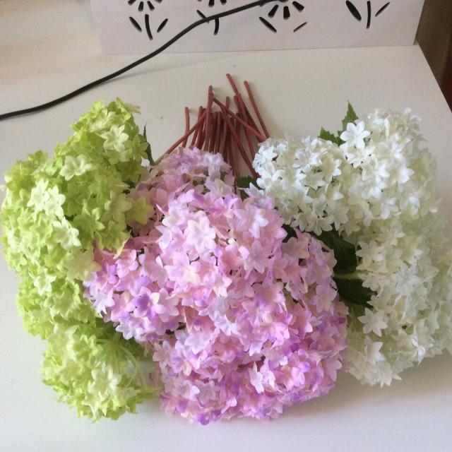 24 Pcs Silk Hydrangea Wedding Arrangement Artificial Flowers Home