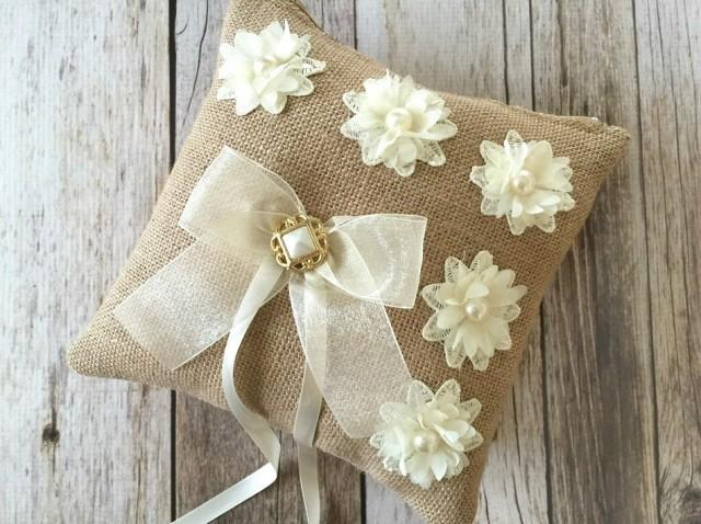 wedding photo - rustic burlap ring bearer pillow with ivory flowers and vintage button