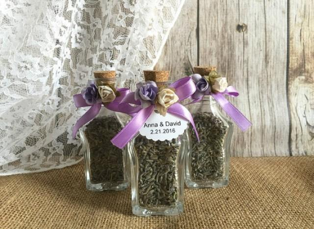 wedding photo - Lavender Wedding favors - glass wedding favor bottles- bridal shower, baby shower favors with personalized tags.