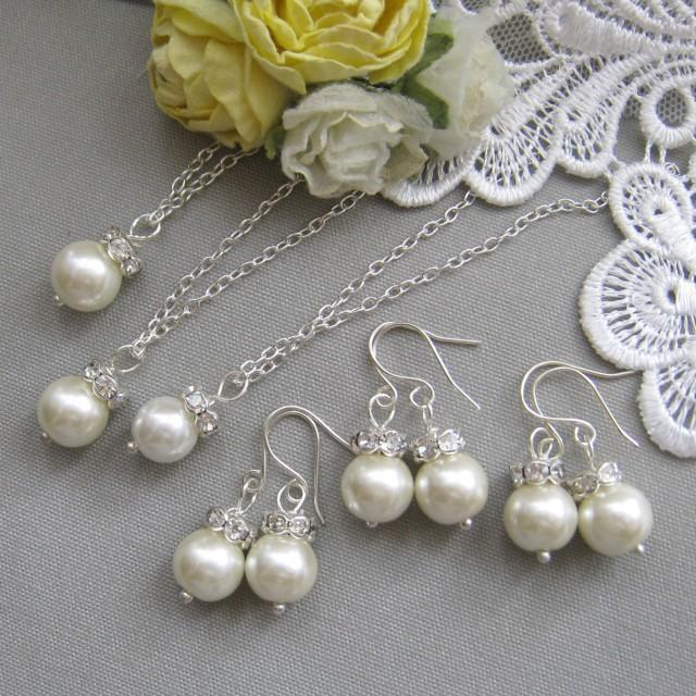 SET Of 5 Rhinestone Pearl Necklace And Earing SET ...