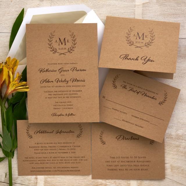 Custom Rustic Wedding Invitations: Rustic Wedding Invitation Set