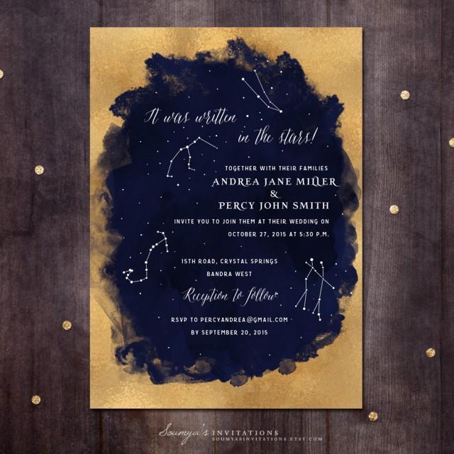 Constellation Wedding Invitation, Gold And Navy Wedding Invitation, Starry Night Invitation ...