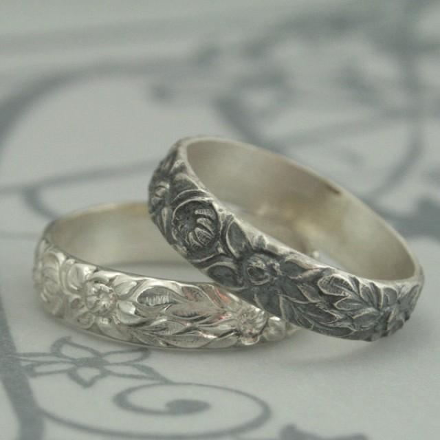 Antique Style Wedding Ring--The Dahlia Band--Sterling