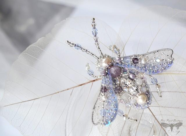 lavender brooch beetle lilac jewelry insect art brooch