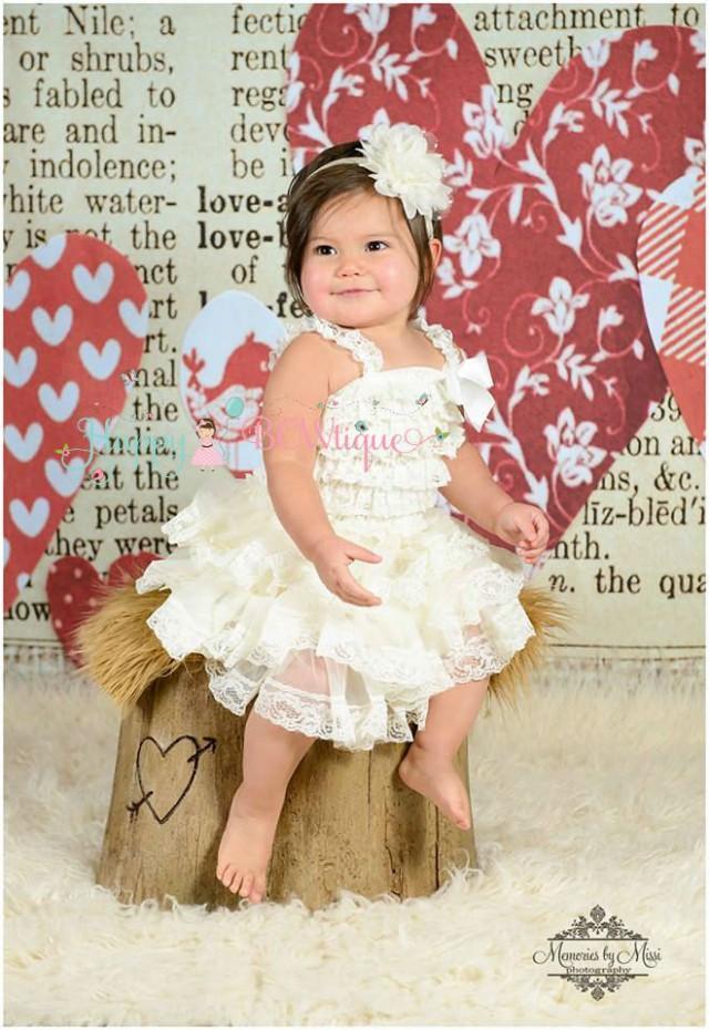 wedding photo - Flower Girl Dress- Lace Flower girl dress, Ivory Chiffon lace dress, Baby Girls, baptism dress,Birthday dress, burlap,Rustic Country wedding