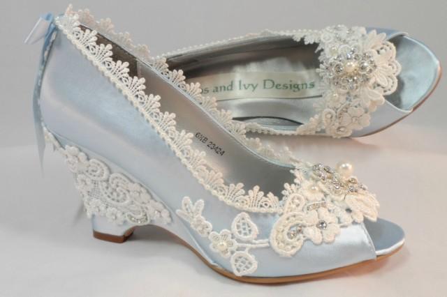 Light Blue Wedding Wedges Lace Wedge Bridal Peeptoe Wedge Wedding Custom Bespoke Wedding