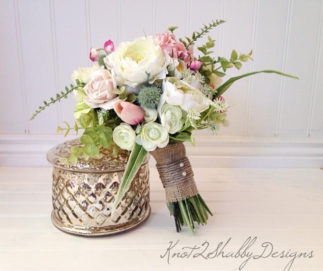 Blush bridal bouquet wedding dried bridal party for Bouquet chic