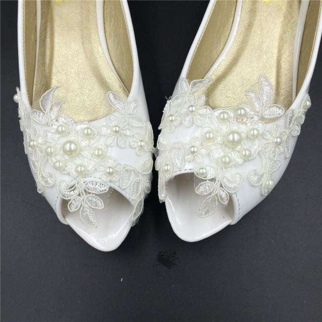 Bridal Open Toe Ballet Flats Wedding Shoes All Full Sizes Peep Toe Lace Wedding Bridal Shoes
