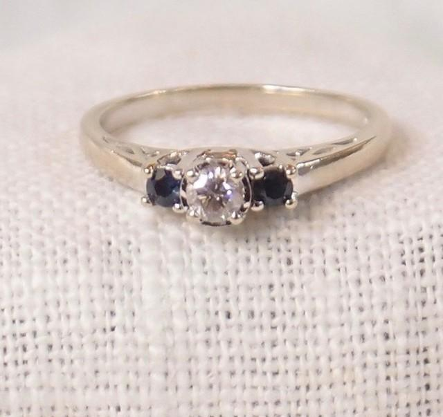 vintage 14k gold diamond and sapphire engagement ring or