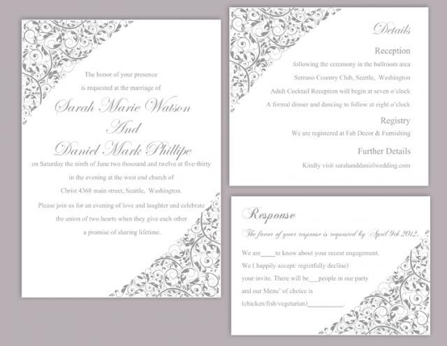 Downloadable Wedding Invitation Templates: DIY Wedding Invitation Template Set Editable Word File