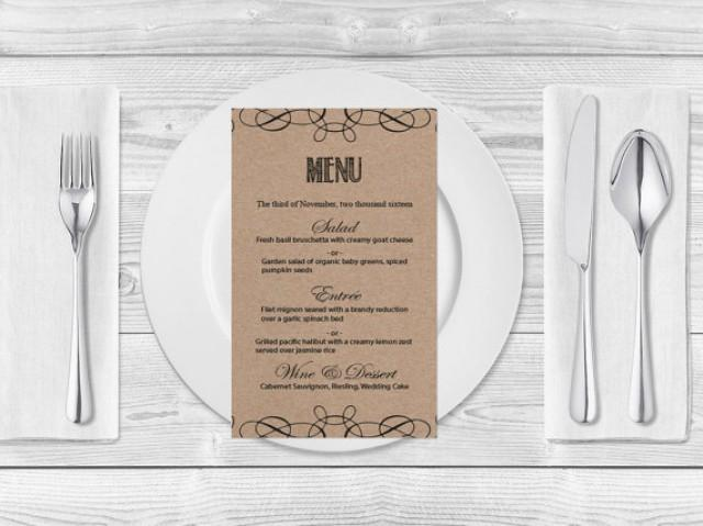 wedding photo - Kraft Paper Wedding Menu Template- Rustic Swirls Printable Wedding Menu Card - Editable PDF Templates - Instant Download - DIY You Print