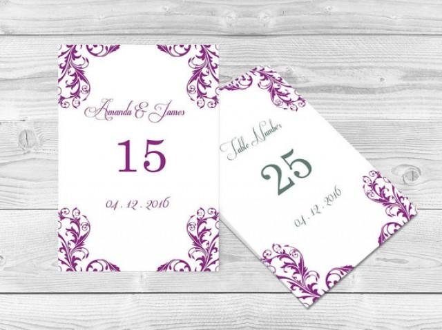 Wedding table numbers template 4x6 elegant orchid purple damask printable table card template for Wedding table numbers template
