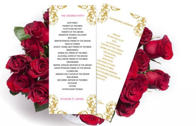 wedding photo - Wedding Program Template - Golden Damask Tea Length - Printable Ceremony Program - Editable PDF - Instant Download - DIY You Print