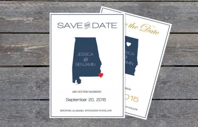 wedding photo - Alabama Save the Date Templates - Alabama Navy State Map Save the Date Printable Editable PDF Template - Instant Download - DIY You Print