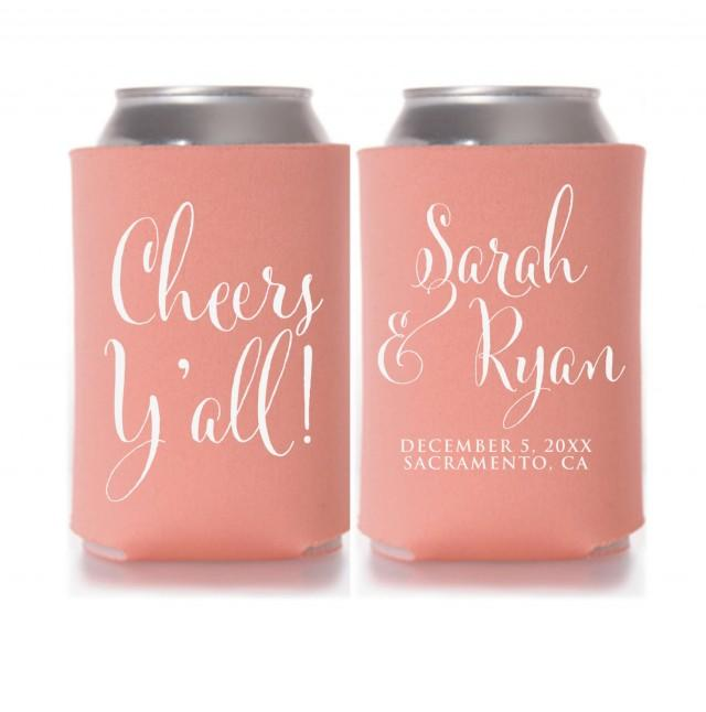 Personalized Can Coolers ~ Wedding koozies cheers y all personalized can coolers