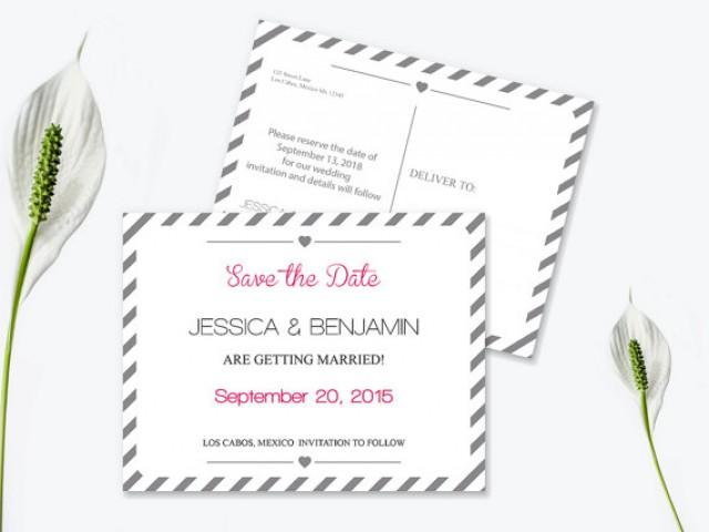 wedding photo - Save the Date Postcard Templates - Silver Grey Carnival Stripes Printable Wedding Save the Dates - 5.5 x 4.25 Editable PDF - DIY You Print