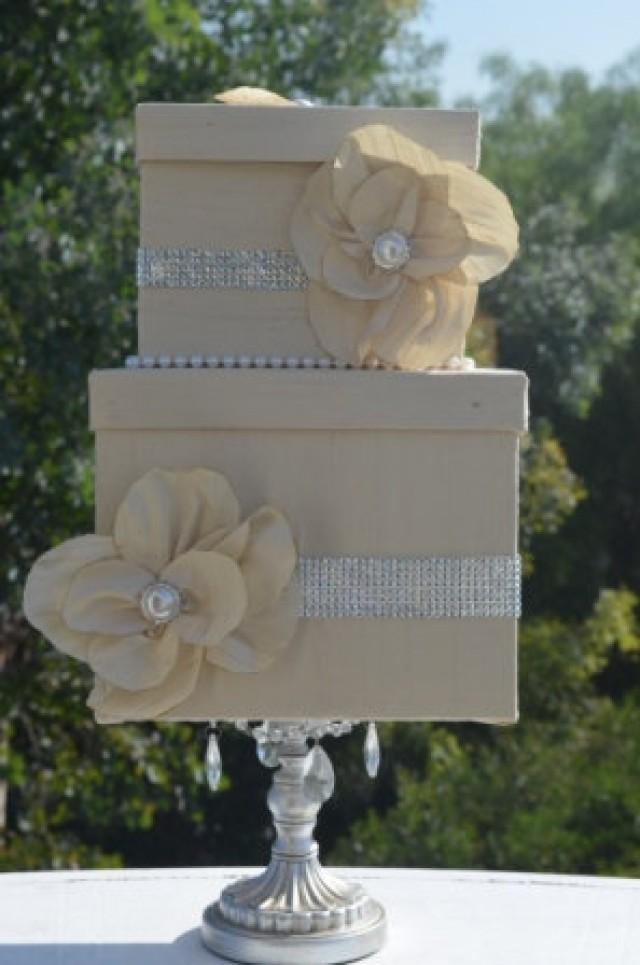 Ivory Card Box Silk Pearls And Rhinestones Brooches