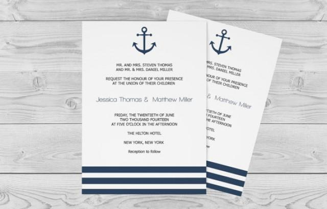 wedding photo - Nautical Wedding Invitation Template - 5 x 7 Navy Anchor Striped Printable Wedding Invitation Editable PDF - Instant Download DiY You Print