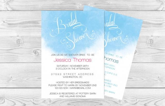 wedding photo - Watercolor Bridal Shower invitation Template - Blue Watercolor Calligraphy Handlettered Bridal Shower Editable PDF Template- DIY You Print