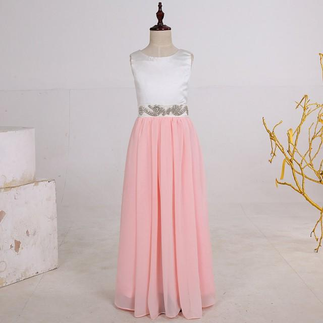 Long chiffon pink flower girl dresses junior bridesmaid for Little flower girl wedding dresses