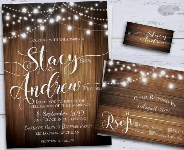 wedding photo - Rustic Wedding Invitations, Printable Wedding Invitations