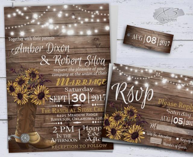 wedding photo - Sunflower Wedding Invitatons, Rustic Wedding Invitations