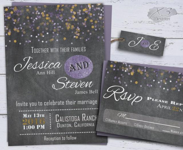 wedding photo - Rustic Wedding Invitations, Chalkboard Wedding Invitations