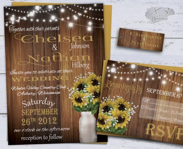 wedding photo - Sunflower Wedding Invitations, Rustic Wedding Invitations
