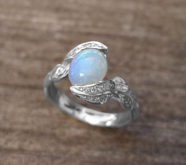 Opal Leaf Ring Opal Engagement Ring Opal Ring Gold Engagement Ring With Op