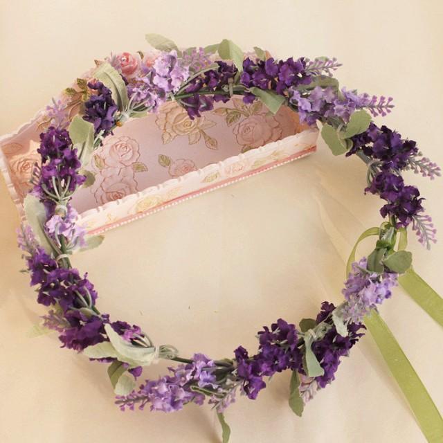 Flower Crown Purple: Purple Flower Crown Lavender Flower Hair Wreath Floral