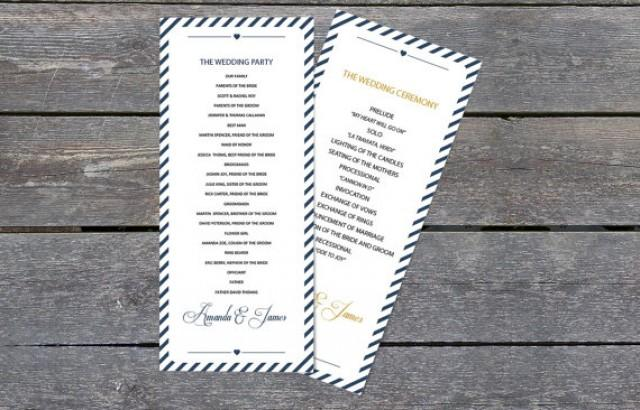 wedding photo - DIY Wedding Program Template - Navy Carnival Stripes Tea Length Printable Program - Instant Download - Adobe Reader Format - DIY You Print