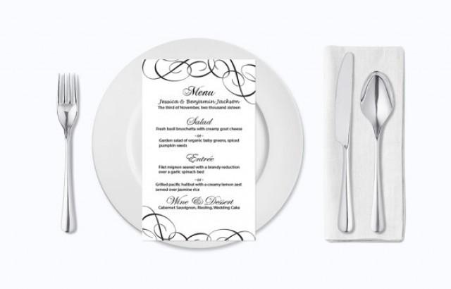 wedding photo - Wedding Menu Card Template - Editable PDF - 4x7 Black Elegant Swirls Printable Menu Card Templates - Adobe Reader Format - DIY You Print
