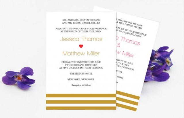 wedding photo - Wedding Invitation Template - Gold Stripes Printable Wedding Invitation - 5 x 7 Editable PDF Templates - Instant Download - DIY You Print