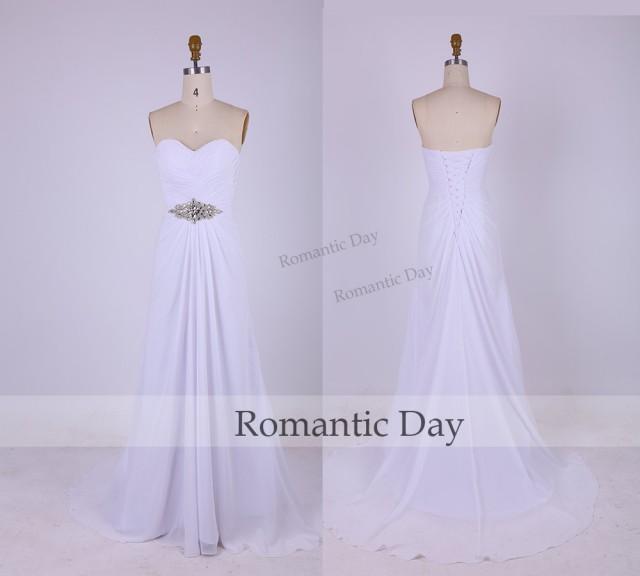 Simple Elegant White Wedding Dress : Simple elegant white sweetheart beach wedding dresses chiffon