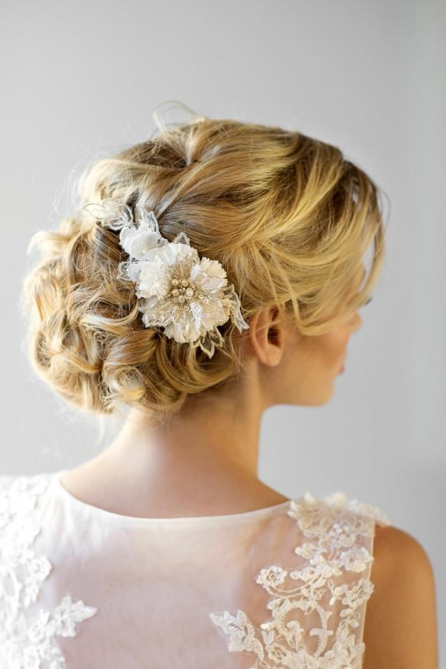 Flowers For Hair Wedding Australia : Bridal flower hair comb wedding headpiece fascinator ivory silk