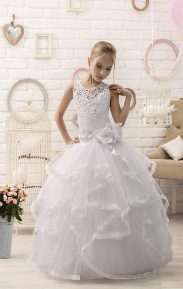 white lace flower girl dress first communion dress