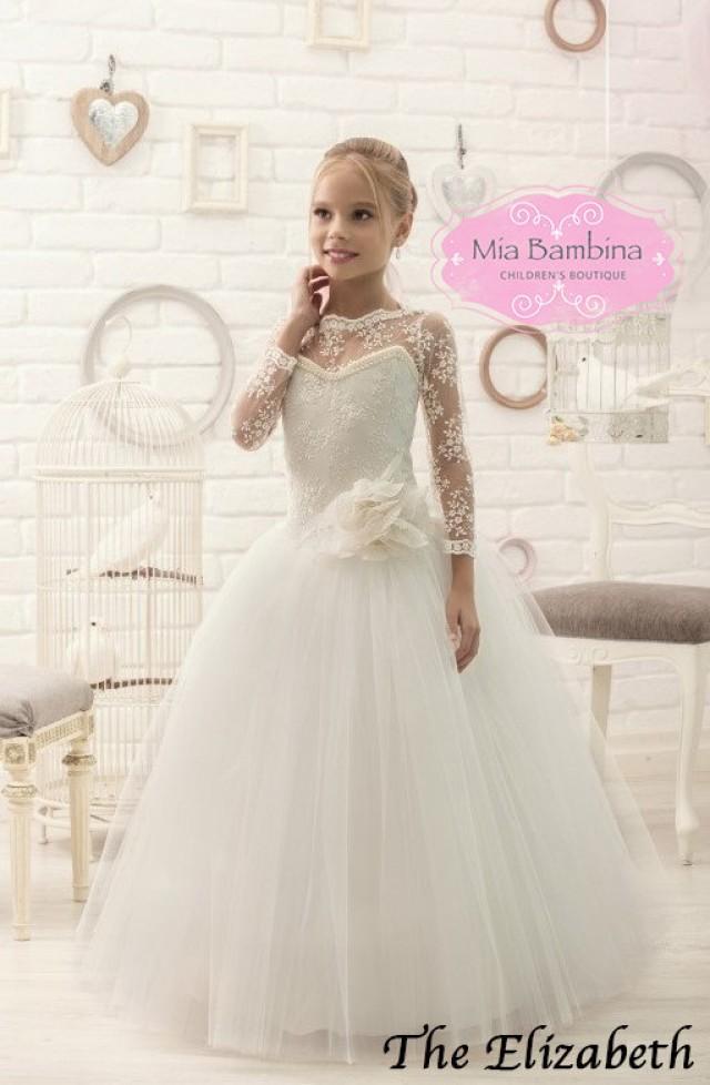 Ivory White lace long sleeves Flower Girl Dresses junior bridesmaid ball  gown dress for wedding girls ... 217059dde102