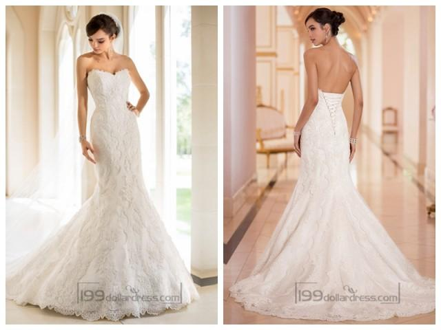 Strapless Mermaid Wedding Gown: Strapless Trumpet Mermaid Sweetheart Lace Wedding Dresses