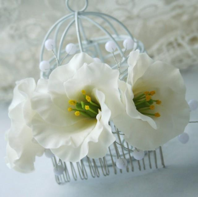 wedding photo - Eustoma flower comb - bridal hair accessories - bridal flower comb - wedding headpiece - wedding flower comb - white bridal flowers