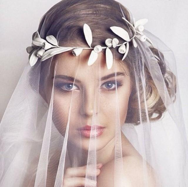 wedding photo - Greek leaf crown, bridal crown, wedding crown, bridal tiara, wedding leaf crown, Bridal leaf headpiece, greek wedding, leaf hair accessory