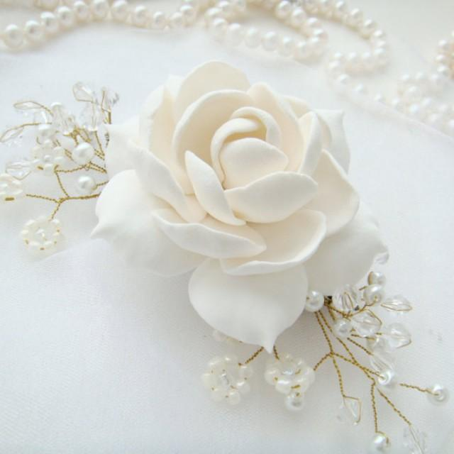 wedding photo - Bridal flower comb - white gardenia. Bridal Hair flower. Bridal pearl comb. Bridal hair accessory. Bridal headpiece. Wedding hair accessory