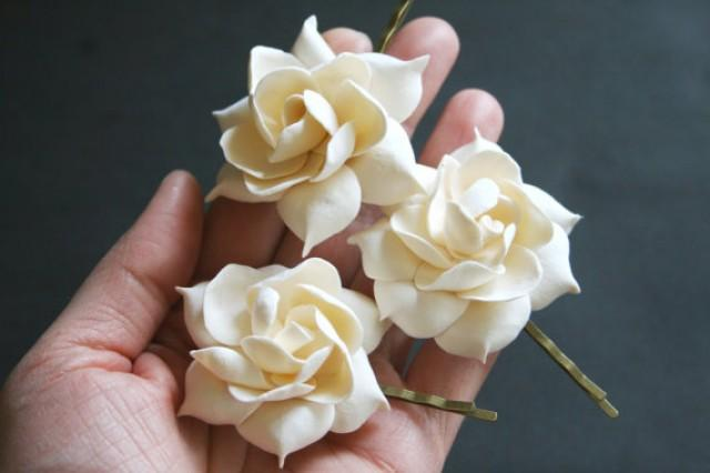 wedding photo - Ivory gardenia - bridal flower clip, Bridal flower hair pin, Bridal hair flower, Wedding hair clip, Bridal flower clip, Flower hair pins,