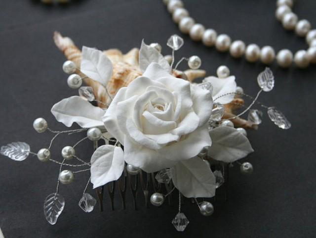 wedding photo - Bridal comb, Bridal flower comb, Bridal Hair flower, Bridal pearl comb, Wedding comb, Bridal hair accessory, Bridal headpiece, White rose