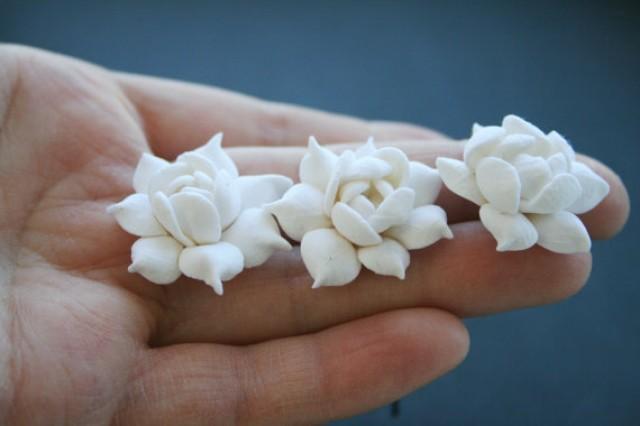 wedding photo - Bridal flower hair pin - white gardenia, bridal flower hair clip, wedding hair pins, bridal flower pins, bridal hair flower, flower hair pin
