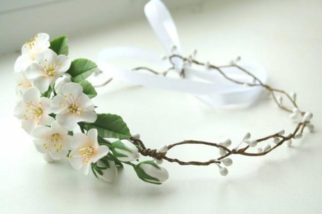 wedding photo - Bridal flower crown, Bridal crown, Wedding flower crown, Bridal flower headpiece, floral bridal headpiece, apple blossom flower crown