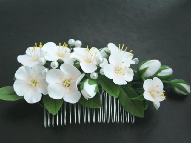 wedding photo - Bridal hair comb, Wedding flower comb, Bridal flower comb, Bridal hair accessories, Flower comb, Flower hair accessory, apple blossom