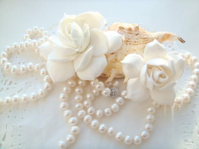 wedding photo - White bridal hair flower gardenia 2 in set. Bridal flower hair clip. Hair clay flower. Wedding flower clip. Wedding hair flower accessory.