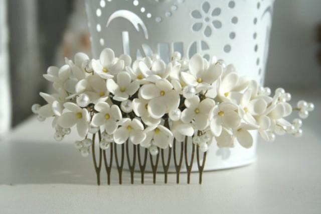 wedding photo - Bridal flower comb, Bridal hair comb, Wedding flower comb, Flower bridal comb, Bridal pearl comb, Decorative comb, lilac hair